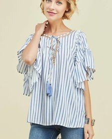 Ruffle Peasant Top with Embroidery