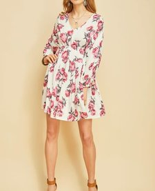 Floral Dress with Drawstring Waist