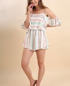 Striped Spaghetti Strap Romper with Ruffle Sleeves