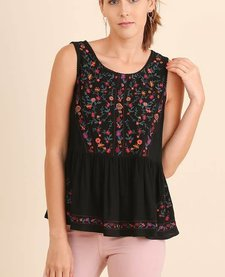 Floral Embroidered Babydoll Tank