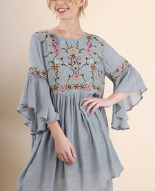 Floral Emrboidered Dress with Bell Sleeve