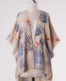 Leaf Print Chiffon Kimono Cardigan