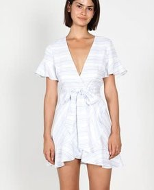 Stripe Deep V-neck  Wrap Dress