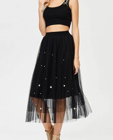 Mesh Tulle Skirt with Pearl Detail