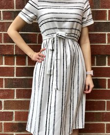Black and White Dress with Waist Tie
