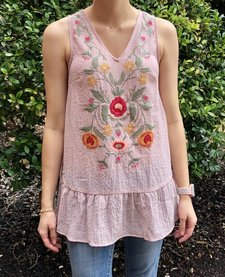Mauve Embroidered Tank with Tie Back