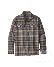 Patagonia Men's Long-Sleeved Fjord Flannel Shirt Migration Plaid: Forge Grey M