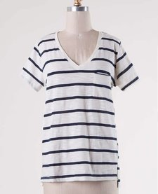 Striped Short Sleeve Everyday V-Neck