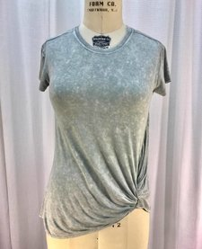 Short Sleeve Knit Top with Mineral Washing