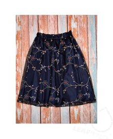 Embroided Floral Midi Skirt