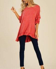 Garment Dye Ruffle Top