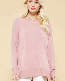 High-Low Casual Knit Sweatshirt