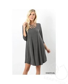 3/4 Sleeve Triple Lattice Dress with Pockets