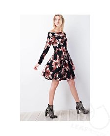 Romantic Floral Off Shoulder Knit Dress