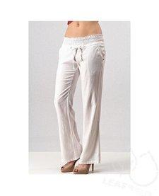 Smocked Waist Linen Pants
