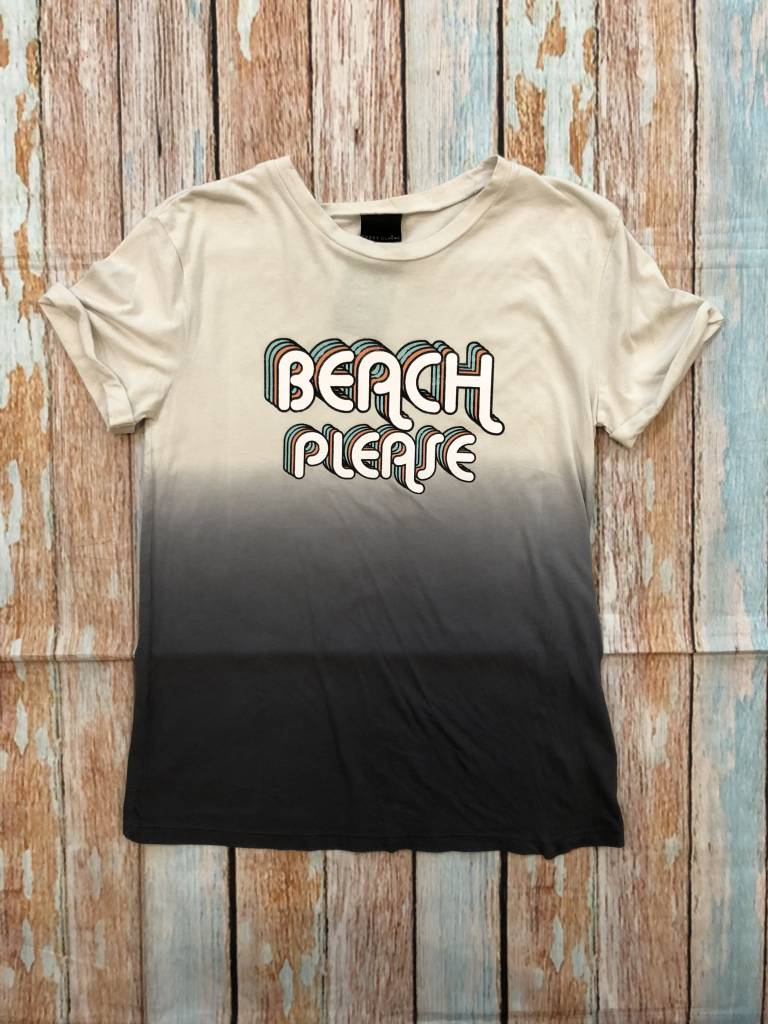 Sweet Claire Short Sleeve Cuffed Ombre Rero Beach Please Graphic Top