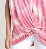 Tie Dye Top Knot V-Neck Short Sleeve Cuff Top