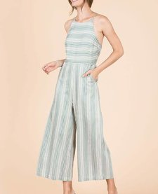 High Neck Striped Jumpsuit