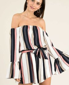 Multi Stripe Off Shoulder Romper