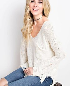 Distressed Sweater With Pocket