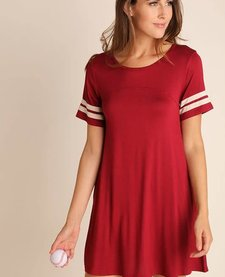 Pocket Tee Dress with Stripe Sleeves