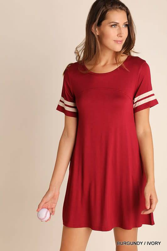 Umgee Pocket Tee Dress with Stripe Sleeves