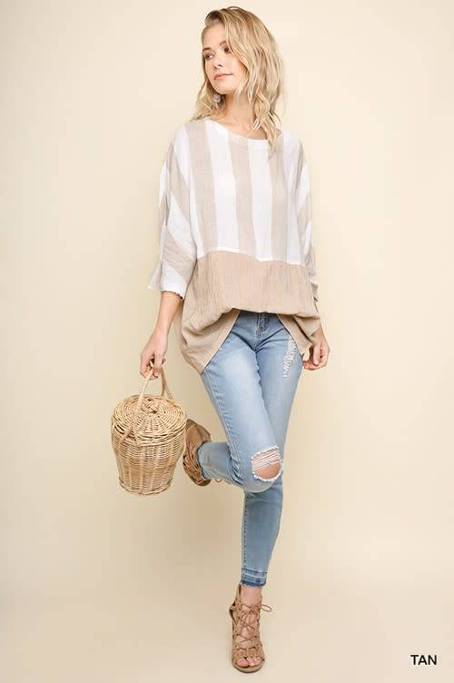 Umgee 3/4 Dolman Sleeve Striped Top with Pinched Waist