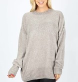 Oversized Round Neck Velvet Yarn Sweater