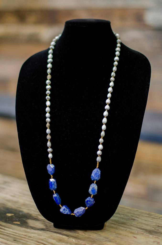 Blue Lapis seed necklace