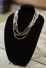 Black/Gray Opal 8mm bead multi-strand seed necklace