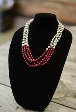 Ruby Jade 8mm bead multi-strand seed necklace