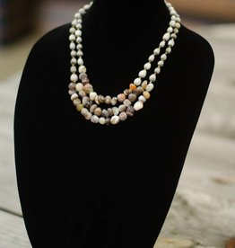 Botswana Agate nugget 2/3-strand seed necklace