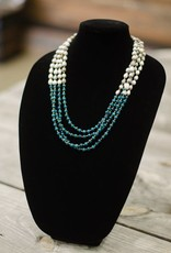 Teal Angelite 6mm bead multi-strand seed necklace