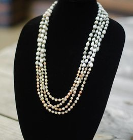 Light Pink Neutral Moonstone 6mm bead multi-strand seed necklace