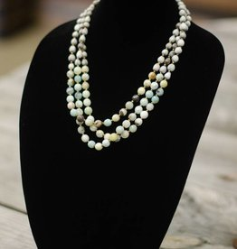 Neutral multi-colored Amazonite Faceted 10mm bead three-strand seed necklace
