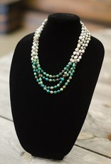 Turquoise Chrysocolla 8mm bead multi-strand seed necklace