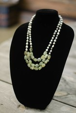 Prehnite green nugget 2/3-strand seed necklace