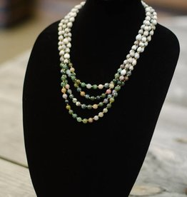 Indian Agate 8mm bead multi-strand seed necklace