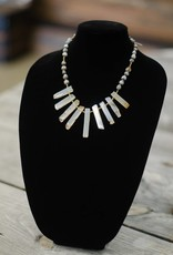 Milky cream colored Agate multi-tooth seed necklace