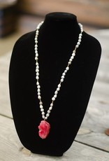 Hot Pink Agate Stone Pendant seed necklace