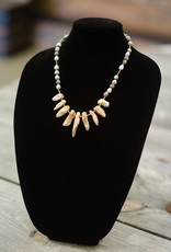 Pink Opal stone multi-tooth seed necklace