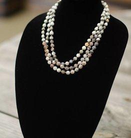 Botswana Agate 10mm bead three-strand seed necklace