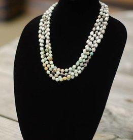 Neutral multi-colored Amazonite Faceted 8mm bead multi-strand seed necklace