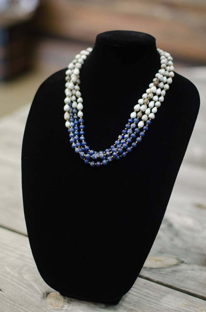 Blue Natural Lapis 8mm bead multi-strand seed necklace