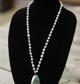 Turquoise Ocean Jasper Stone Pendant seed necklace