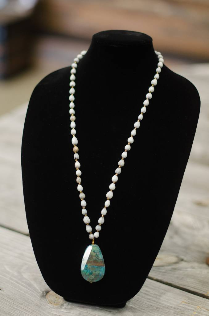 Turquoise Ocean Jasper Stone Pendant seed necklace
