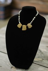 Gold Agate Chunk seed necklace- short