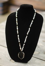 Black Onyx Stone Pendant seed necklace