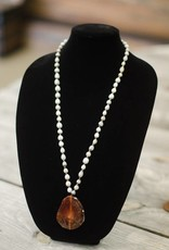 Burnt Fire Agate Stone Pendant seed necklace