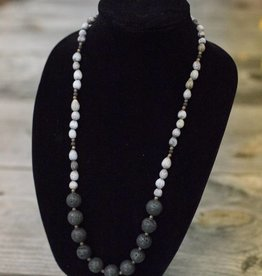 Black Lava Stone seed necklace